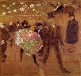 Le Goulue Dancing with Valentin-le-Desosse - Henri De Toulouse-Lautrec Oil Painting
