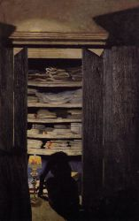 Woman Searching through a Cupboard - Felix Vallotton Oil Painting