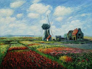 Tulip Field with the Rinjnsburg Windmill - Claude Monet Oil Painting