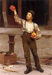 The Young Apple Salesman - John George Brown Oil Painting
