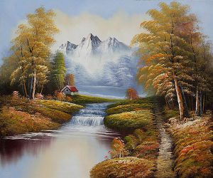 North View of Mountains - Oil Painting Reproduction On Canvas
