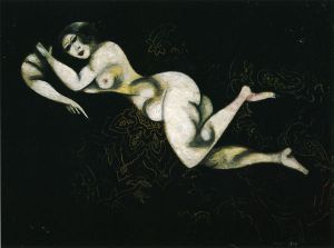 Nude Lying Down - Marc Chagall Oil Painting