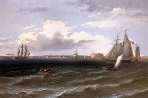 View of New York Harbor II - Thomas Birch Oil Painting
