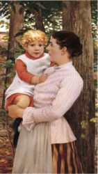 Mother and Child - James Carroll Beckwith Oil Painting,