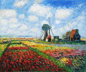 Tulip Field with the Rijnsburg Windmill - Claude Monet Oil Painting