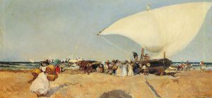 Arrival of the Boats - Joaquin Sorolla y Bastida Oil Painting