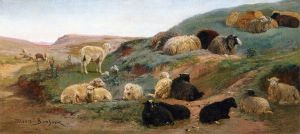 Sheep in a Mountainous Landscape - Rosa Bonheur Oil Painting