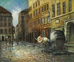 Stopping at The Bank - Oil Painting Reproduction On Canvas