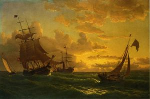 Shipping in Rough Waters - William Bradford Oil Painting