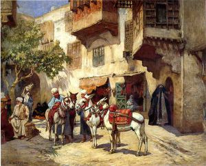 Marketplace in North Africa - Frederick Arthur Bridgeman oil painting