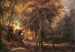 Forest Landscape at the Sunrise - Peter Paul Rubens Oil Painting