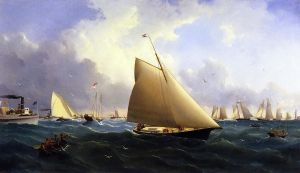 New York Yacht Club Regatta off New Bedford - William Bradford Oil Painting