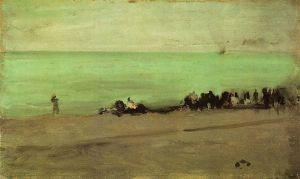 Blue and Silver: Boat Entering Pourville - James Abbott McNeill Whistler Oil Painting