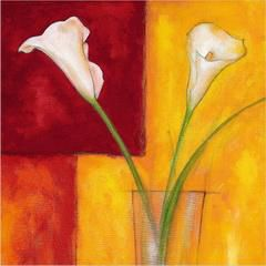 Two white flowers in a glass - Oil Painting Reproduction On Canvas