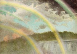 Four Rainbows over Niagara Falls - Albert Bierstadt Oil Painting