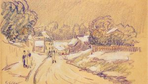 Early Snow at Louveciennes II - Alfred Sisley Oil Painting