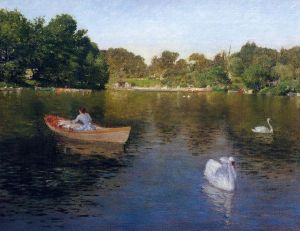 On the Lake, Central Park - William Merritt Chase Oil Painting