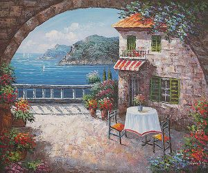 Cafe At Oceanside II - Oil Painting Reproduction On Canvas