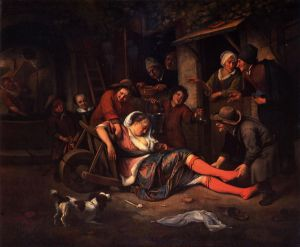 Wine is a Mocker - Jan Steen Oil Painting