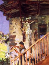 A Tyrolese Crucifix - John Singer Sargent Oil Painting