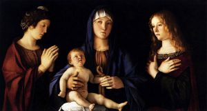 Madonna and Child with Two Saints (Sacra Conversazione) - Giovanni Bellini Oil Painting