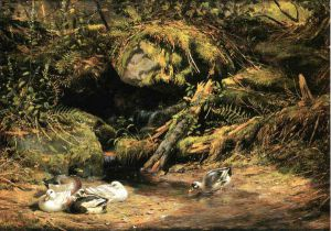 Ducks at the Spring Head - Arthur Fitzwilliam Tait Oil Painting