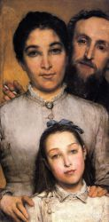 Portrait of Aime-Jules Dalou, His Wife and Daughter - Oil Painting Reproduction On Canvas
