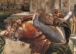The Punishment of Korah and the Stoning of Moses and Aaron (detail 3) (Cappella Sistina, Vatican) - Sandro Botticelli oil painting
