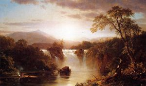 Landscape with Waterfall - Frederic Edwin Church Oil Painting