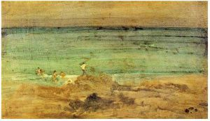 Violet and Blue: The Little Bathers, Perosquerie - James Abbott McNeill Whistler Oil Painting