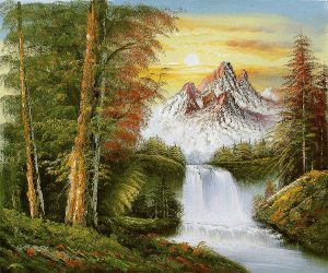 View of Mountains in Fall - Oil Painting Reproduction On Canvas