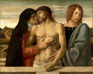 Dead Christ Supported by the Madonna and St. John - Giovanni Bellini Oil Painting