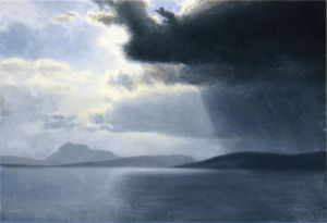Approaching Thunderstorm on the Hudson River - Albert Bierstadt Oil Painting