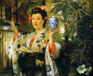 Young Lady Holding Japanese Objects - Oil Painting Reproduction On Canvas