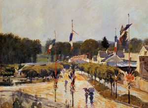 Fete Day at Marly-le-Roi - Alfred Sisley Oil Painting
