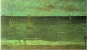 Nocturne: Blue and Silver-Bognor - James Abbott McNeill Whistler Oil Painting