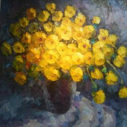 A Bunch of Yellow Flowers - Oil Painting Reproduction On Canvas