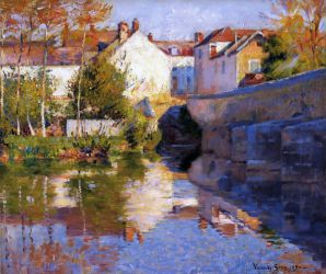 Beside the River (Grez) - Robert Vonnoh Oil Painting