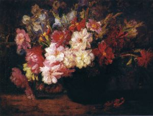 Peonies and Irises - Theodore Clement Steele Oil Painting