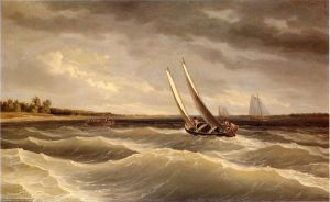 Boats Navigating the Waves - Thomas Birch Oil Painting