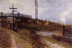 Footbridge over the Railroad at Sevres - Alfred Sisley Oil Painting