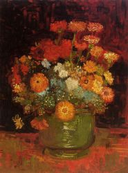 Vase with Zinnias - Vincent Van Gogh Oil Painting