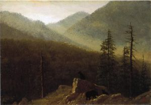 Bears in the Wilderness - Albert Bierstadt Oil Painting