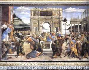 The Punishment of Korah and the Stoning of Moses and Aaron (Cappella Sistina, Vatican) - Sandro Botticelli oil painting