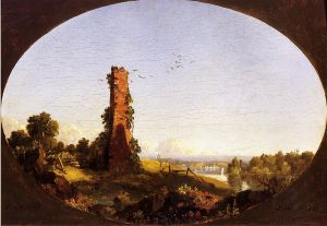 New England Landscape with Ruined Chimney - Canvas Frederic Edwin Church Oil Painting