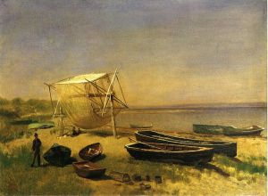 Fishing Station, Watch Hill - Albert Bierstadt Oil Painting