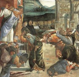 The Punishment of Korah and the Stoning of Moses and Aaron (detail 2) (Cappella Sistina, Vatican) - Sandro Botticelli oil painting