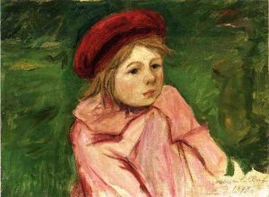 Little Girl in a Red Beret - Mary Cassatt Oil Painting