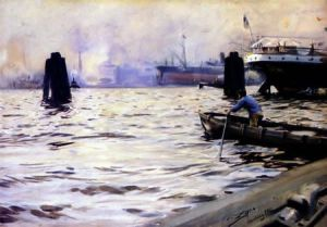 Hamburg Harbour - Oil Painting Reproduction On Canvas