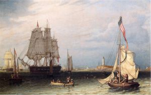 Shipping Scene at Boston Light - Robert Salmon Oil Painting
